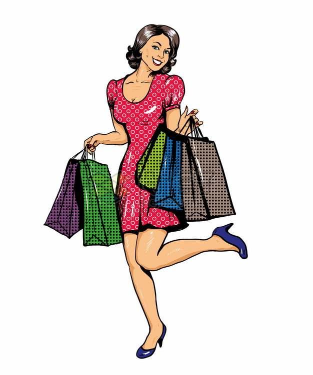 拎着购物袋的时尚女人插画324721png图片素材
