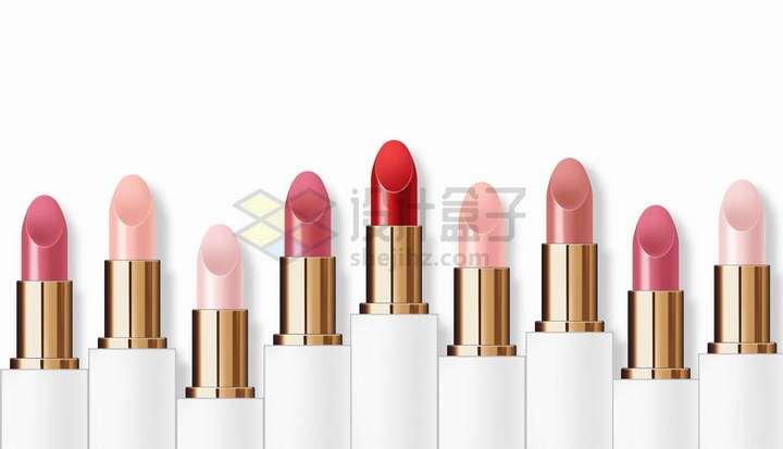 高低各不同色号的口红美妆化妆品png图片免抠矢量素材