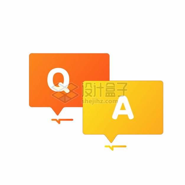 橙黄色对话框问答图标符号128647png图片素材