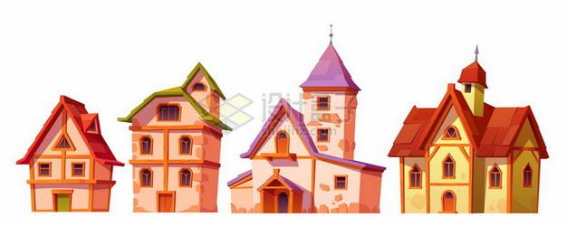 4款卡通房子小别墅png图片素材