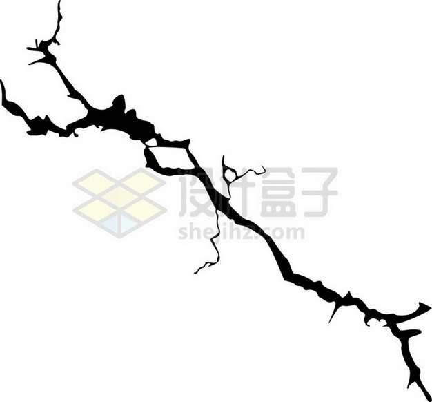 黑色线条墙壁干裂龟裂的土地黑色裂纹裂缝图案321984png图片素材