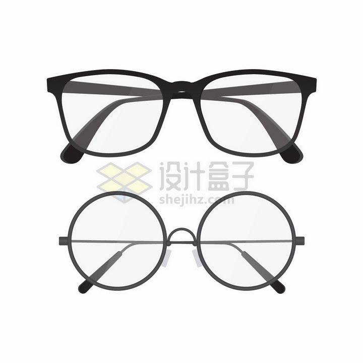 两款黑色边框的眼镜png图片免抠矢量素材