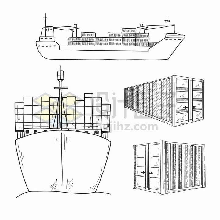 手绘素描风格装满集装箱的货轮海上运输轮船png图片免抠矢量素材