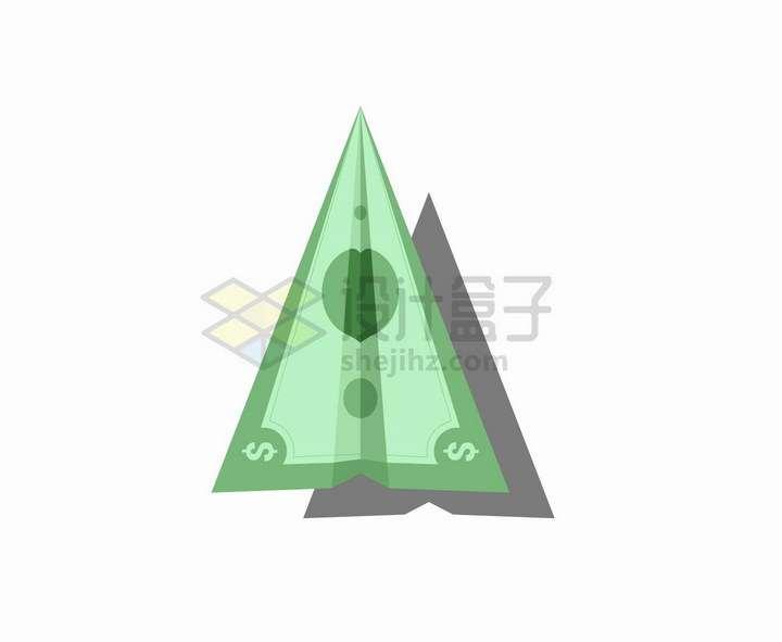 美元钞票折成的纸飞机图案png图片免抠矢量素材