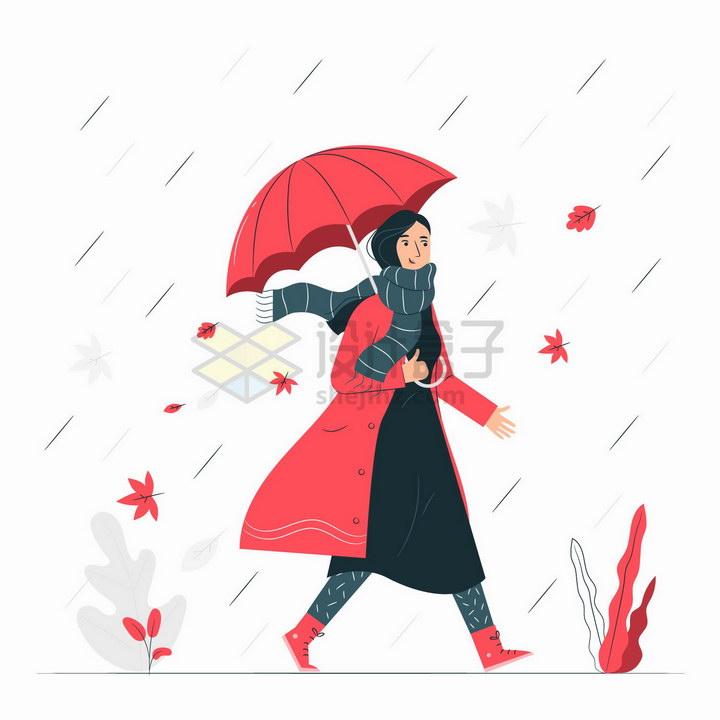秋天打着雨伞的红衣女孩扁平插画png图片免抠矢量素材