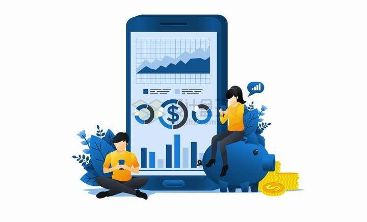 正在平板手机上查看股票投资的商务人士扁平插画png图片免抠矢量素材