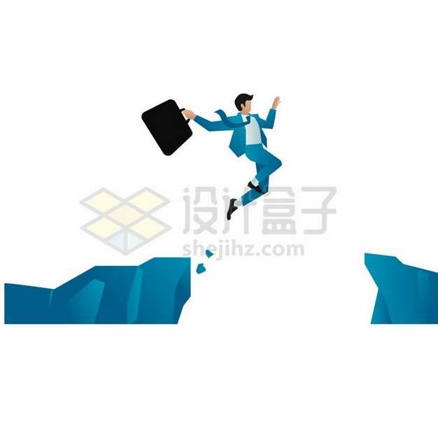 卡通商务人士跑步跳过悬崖峭壁象征克服困难664665png图片素材