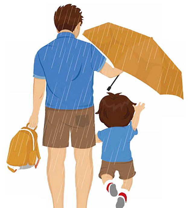 下雨天爸爸打伞保护儿子父亲节背影插画368332png图片素材 人物素材-第1张