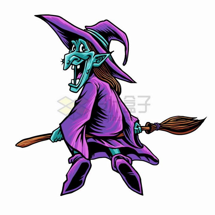 紫色的卡通老巫婆骑着扫帚png图片免抠矢量素材 人物素材-第1张