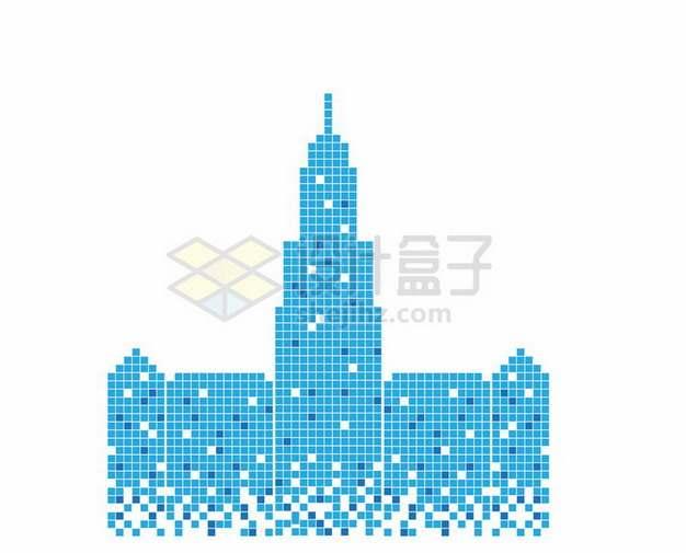 蓝色方块组成的高楼大厦城市天际线130462png图片素材