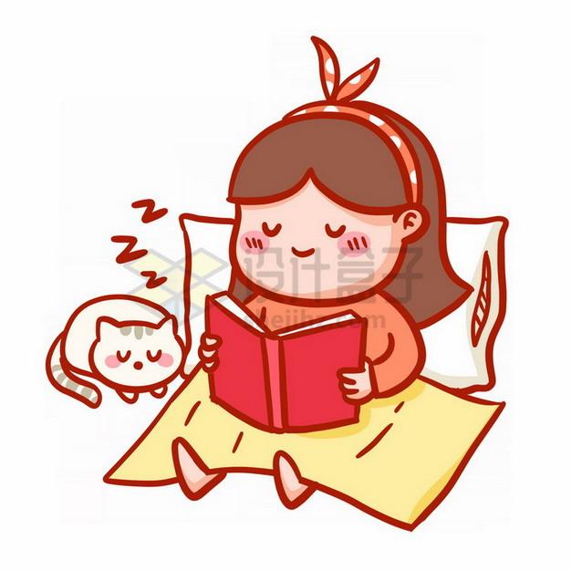 卡通女孩靠在枕头上看书表情包png免抠图片素材 表情包-第1张
