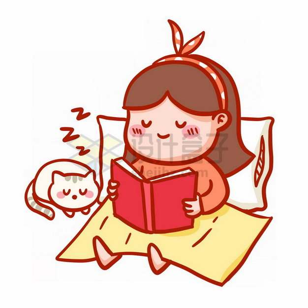 卡通女孩靠在枕头上看书表情包png免抠图片素材