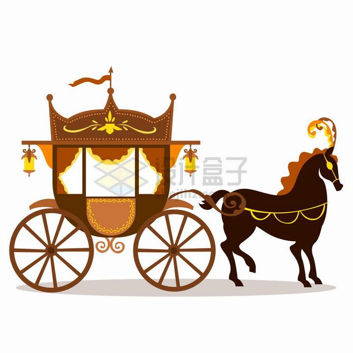 扁平插画童话里的黑马拉的马车png图片免抠eps矢量素材
