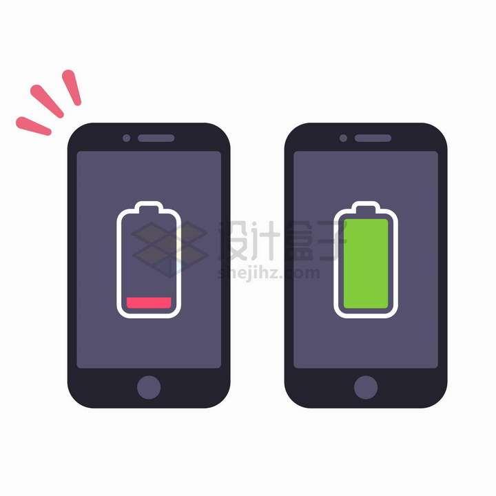 卡通手机上电池充满电和没电的显示png图片免抠矢量素材