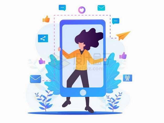 扁平插画风格拿着智能手机边框的女孩子png图片免抠矢量素材