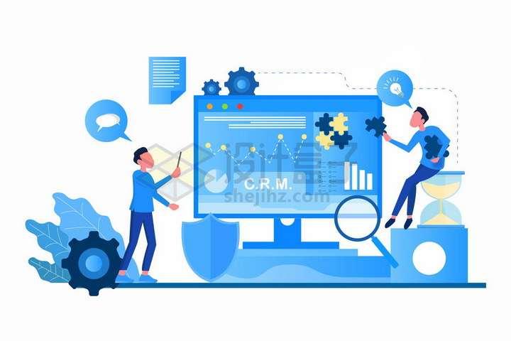 蓝色扁平插画风格CRM客户管理系统png图片免抠矢量素材