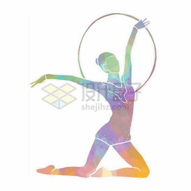 艺术体操圆环彩色涂鸦9352493png免抠图片素材 人物素材-第1张