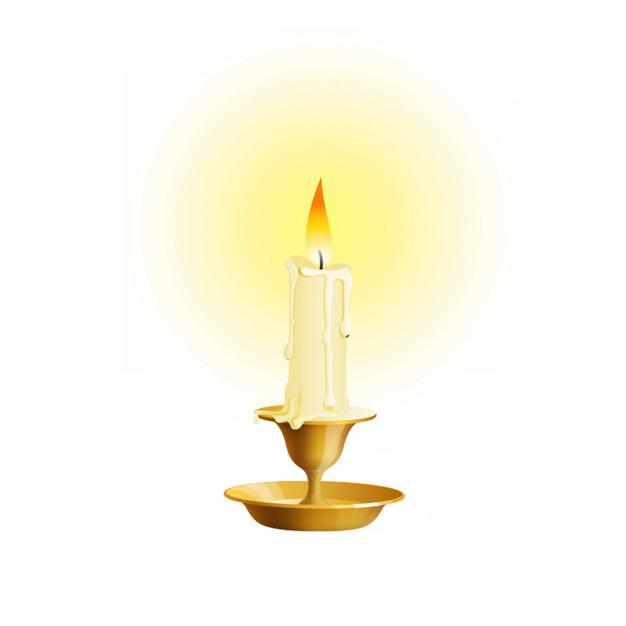 金色烛台上燃烧的白色蜡烛8700629png图片素材 生活素材-第1张