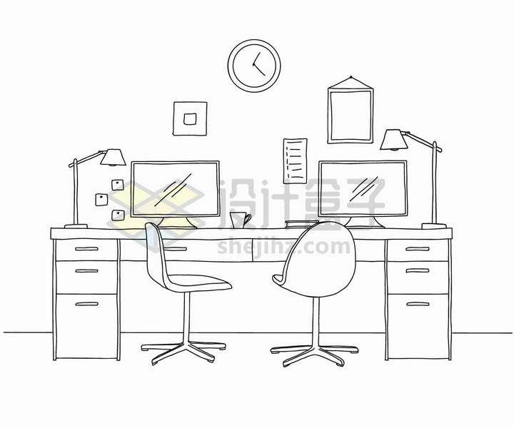 手绘素描风格办公桌和电脑显示器台灯等png图片免抠矢量素材