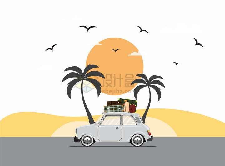 夕阳西下下的卡通旅行小汽车顶上放在行李箱png图片免抠eps矢量素材
