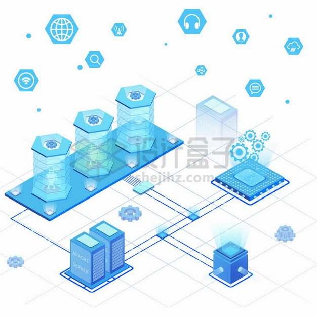 蓝色2.5D风格CPU服务器AI智能技术977436png免抠图片素材