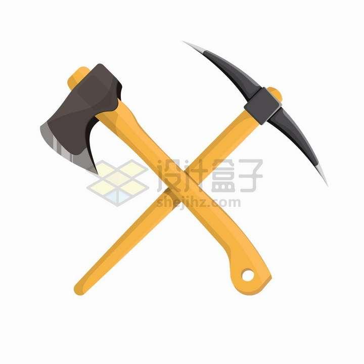 交叉的斧头和铁镐png图片免抠矢量素材