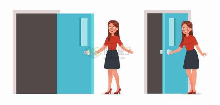 开门请你进去的有礼貌卡通美女职业女士png图片免抠矢量素材