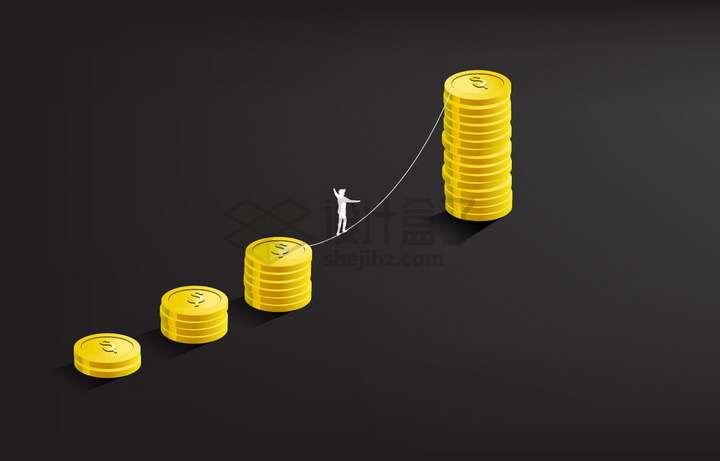 在金币之间走钢丝的商务人士象征了投资经营的风险和挑战png图片免抠矢量素材