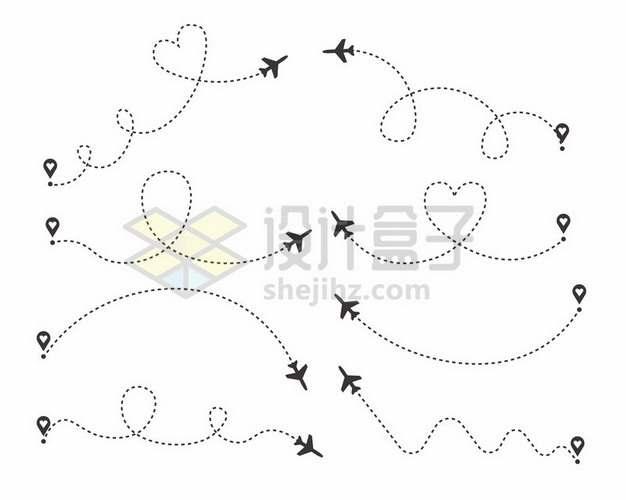 定位标志虚线和飞机线路线条png图片素材