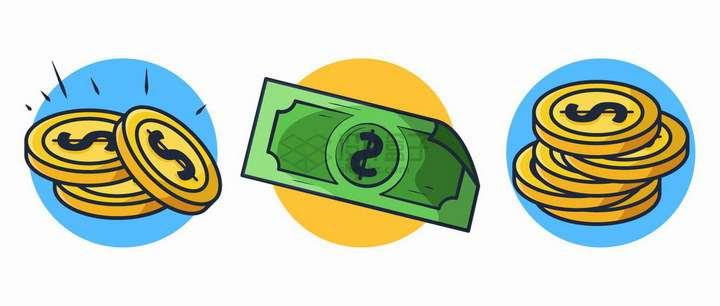 卡通风格美元硬币金币和钞票png图片免抠矢量素材