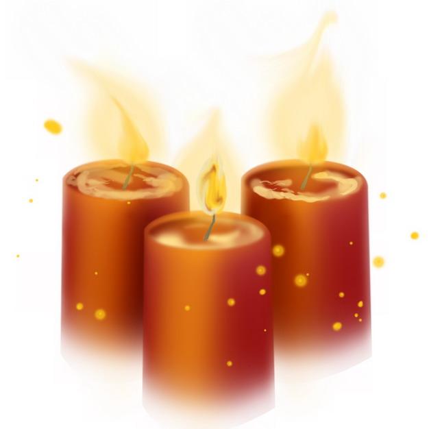 手绘风格3根红色许愿蜡烛6984535png图片素材