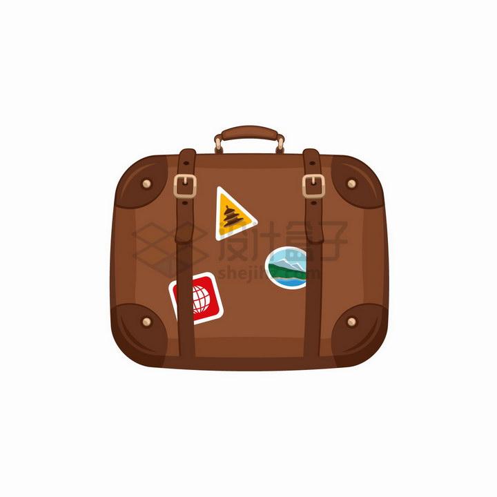 棕色的卡通旅行箱包png图片免抠矢量素材