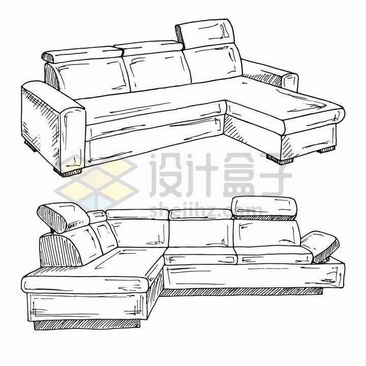 手绘线描风格客厅组合沙发家具png图片免抠矢量素材