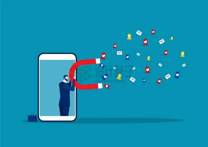 手机中的商务人士拿着磁铁吸引用户邮件png图片免抠矢量素材