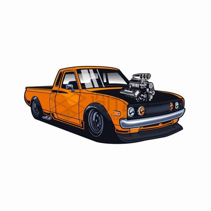 美式漫画风格橙色改装汽车png图片免抠矢量素材