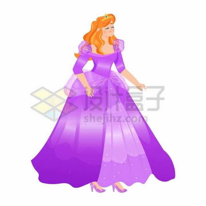卡通童话紫色裙子的美丽公主png图片免抠矢量素材