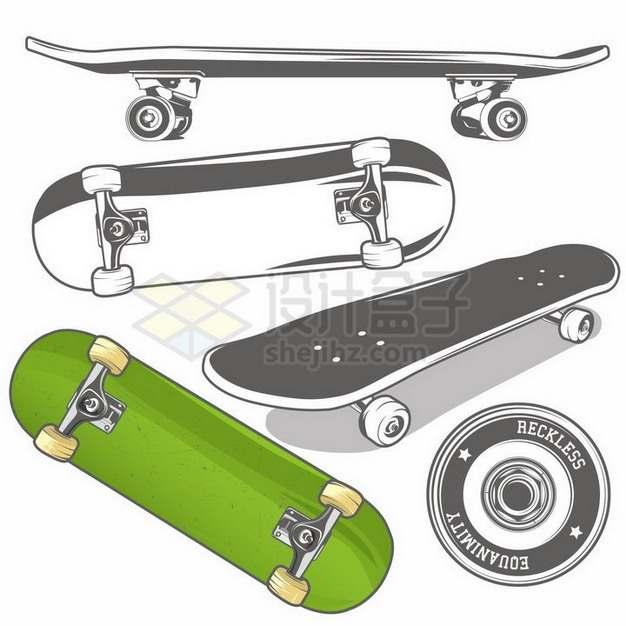 不同角度的单色滑板png图片免抠矢量素材