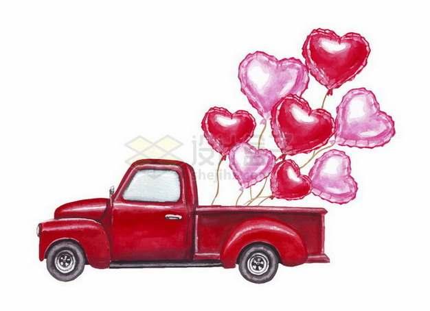 彩绘风格红色皮卡汽车拉着很多心形气球png图片免抠矢量素材