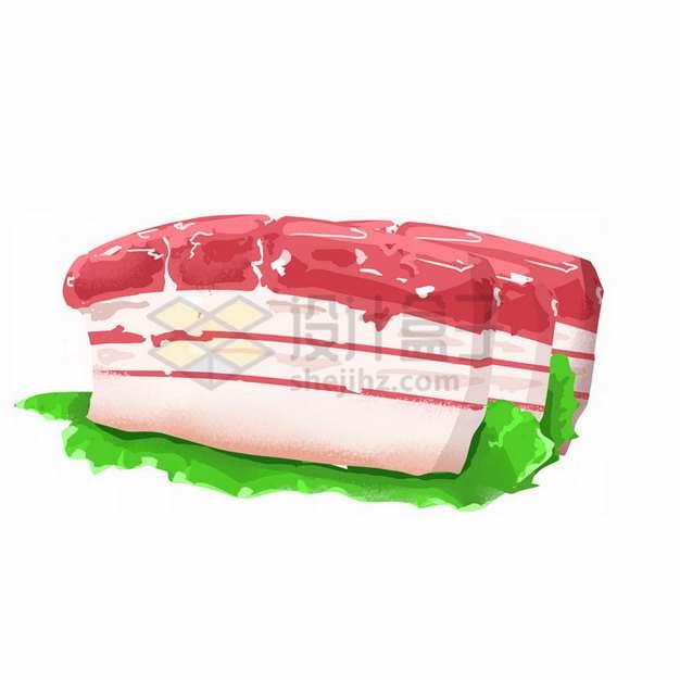 生菜叶上的五花肉切片彩绘插画png免抠图片素材