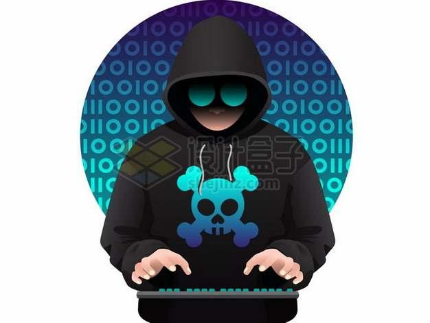 卡通黑客正在敲键盘812150png图片素材