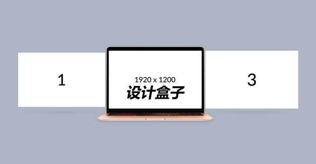 笔记本电脑上的三屏显示画面psd样机图片模板素材