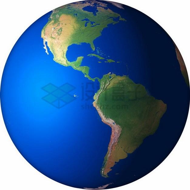 高清地球定位在西半球南北美洲png免抠图片素材 科学地理-第1张