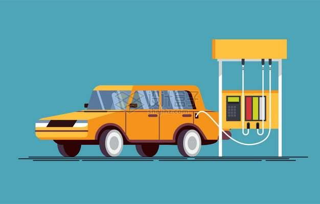 卡通汽车在加油站加油221660png图片素材