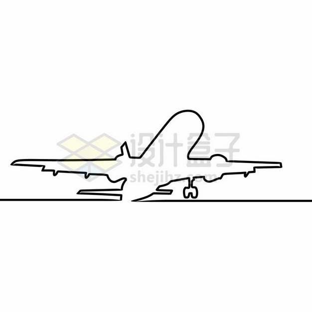 线条起飞的大型客机飞机图案212345png图片素材
