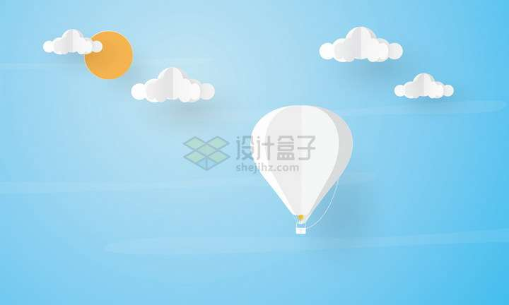 剪纸叠加白色热气球白云和太阳png图片免抠矢量素材