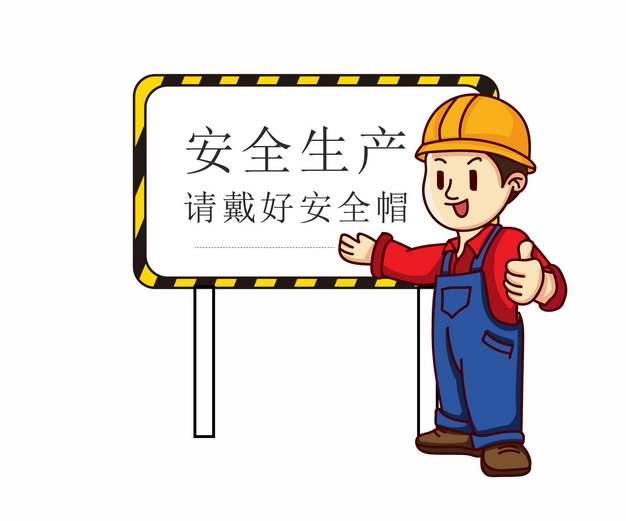 安全生产请戴好安全帽卡通宣传插画327427AI矢量图片素材