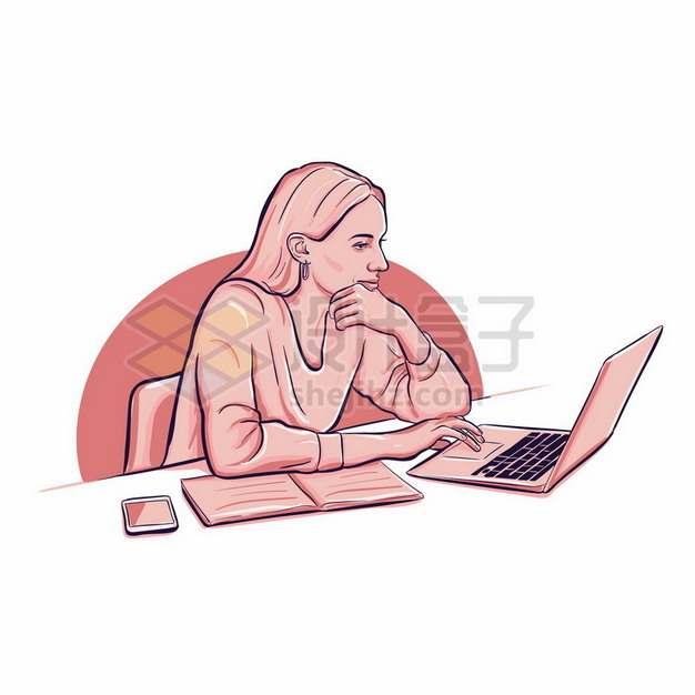 商务女士正在使用笔记本电脑彩绘插画263140png图片素材