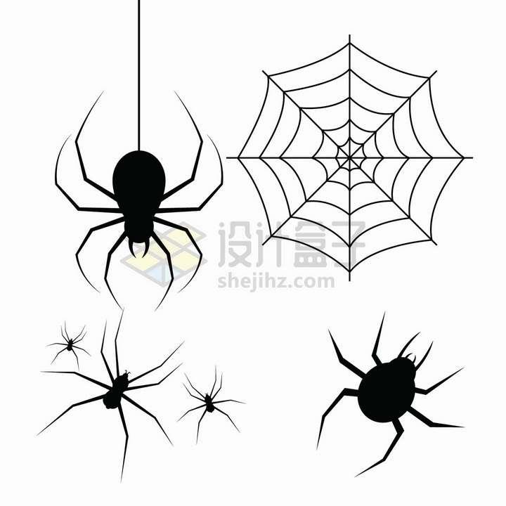 4款黑色的蜘蛛剪影蜘蛛丝蜘蛛网图案png图片免抠矢量素材