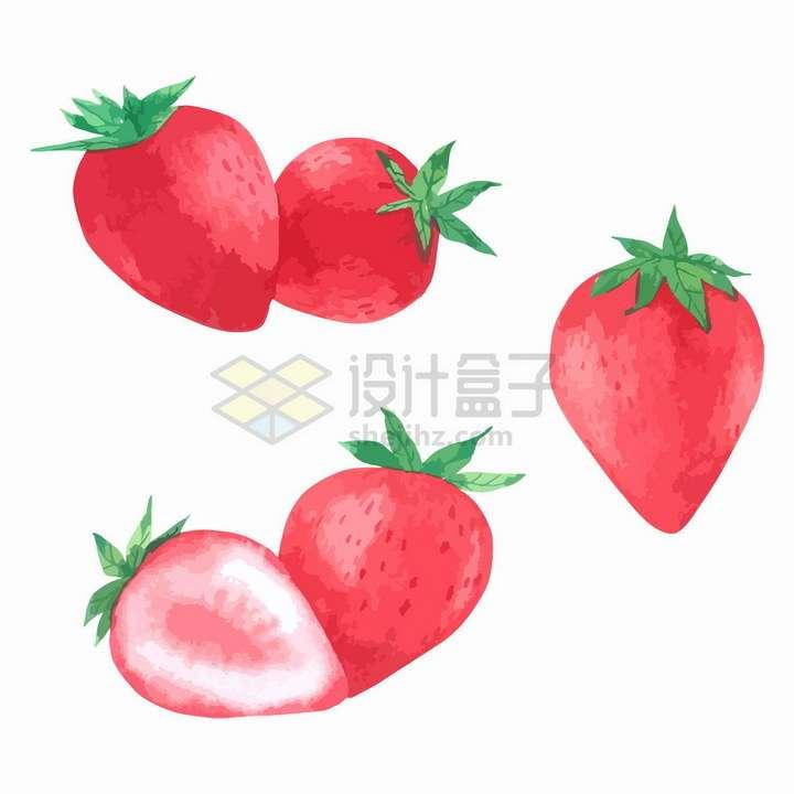 切开的草莓彩绘风格美味水果png图片免抠矢量素材
