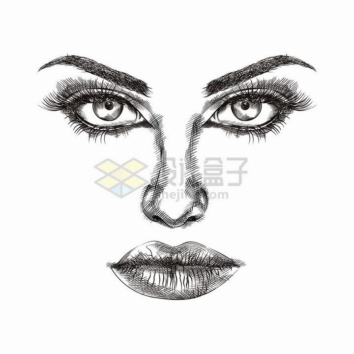 美女五官铅笔素描画png图片免抠矢量素材